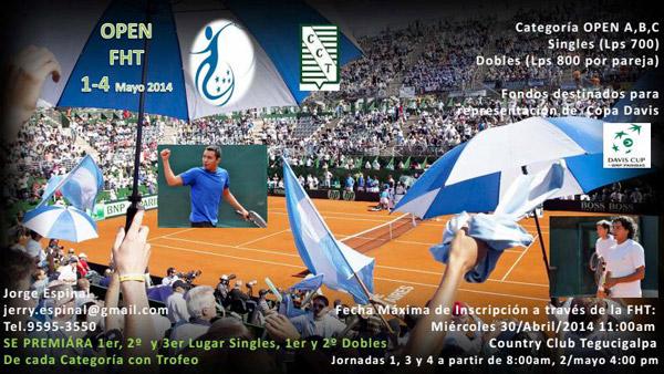 La Federación Hondureña de Tenis realizará el abierto para recaudar fondos destinados al equipo Copa Davis.
